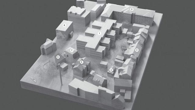 Modell des geplanten Baus und der umliegenden Gebäude