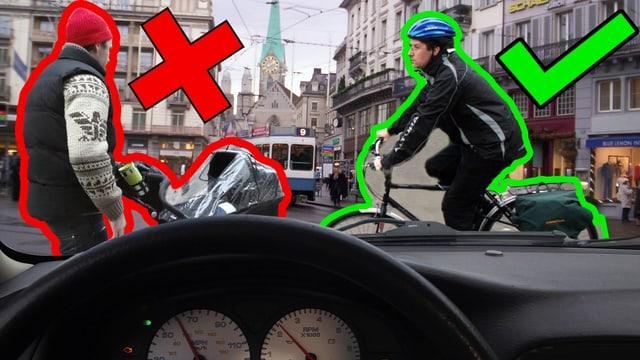 Gestellte sicht eines Bordcomputers: Links ein Mann mit Kinderwagen, rechts ein Velofahrer mit Helm.