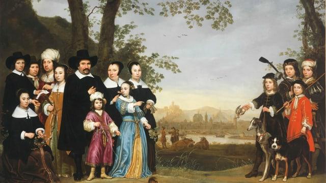 ein Gemälde einer calvinistisch angezogenen Familie und Männern mit Turban