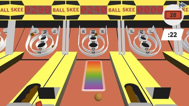 Ballwerfen als Minigame auf dem Jahrmarkt.