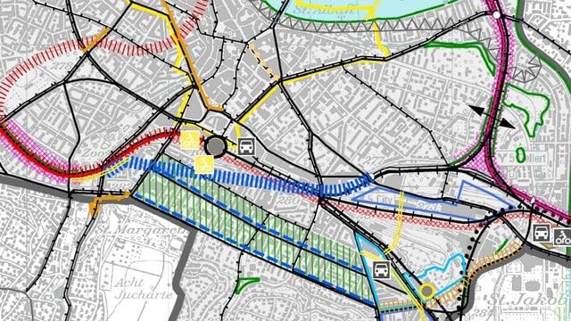 Blick auf den Richtplan des Kantons Baselstadt.