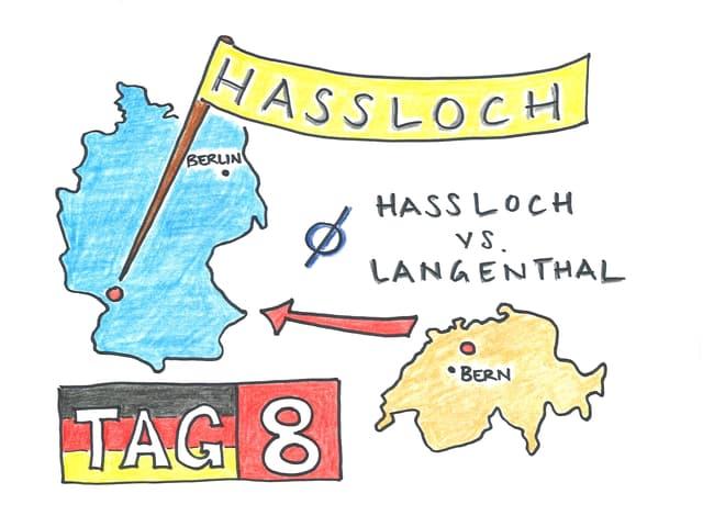 Umrisse von der Bundesrepublik Deutschland und der Schweiz. Daneben der Schriftzug «Tag 8»