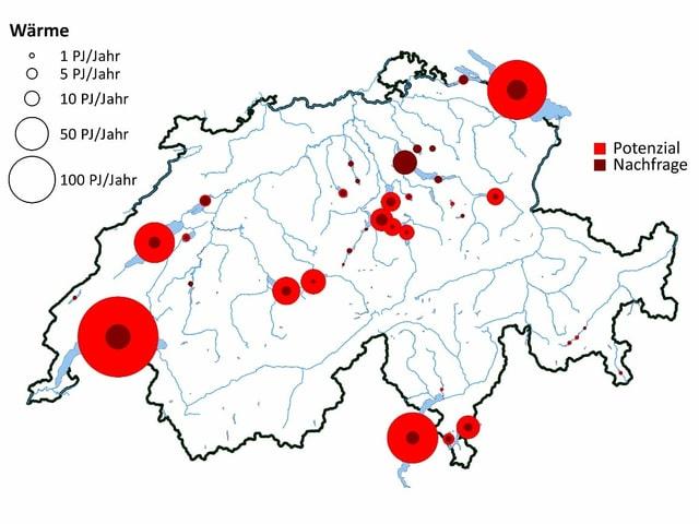 Potenzial dals lais svizzers per stgaudar cumpareglià cun la dumonda maximala regiunala. La grondezza dals rintgs è proporziunala tar la valur correspundenta.