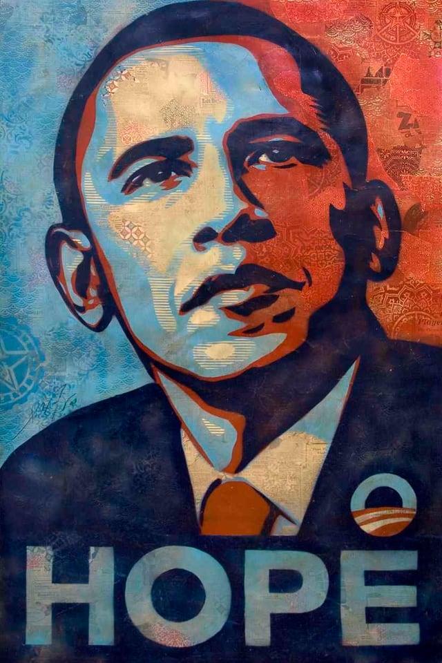 """Bild von Barack Obama in Rot- und Blautönen. Darunter in Grossbuchstaben das Wort """"HOPE""""."""