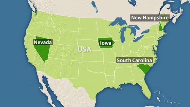 Karte der USA zeigt Bundesstaaten, in denen gewählt wurde.