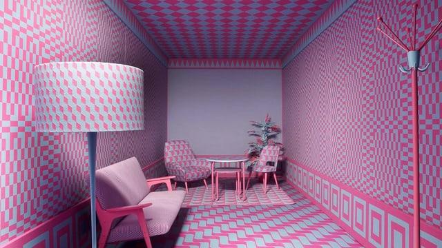 Zimmer, in dem alle Möbel das gleiche rosarate Muster aufweisen