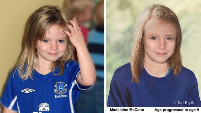 Zwei Porträts von Maddie: als 3-Jährige und ein computergeneriertes Bild als 9-Jährige.