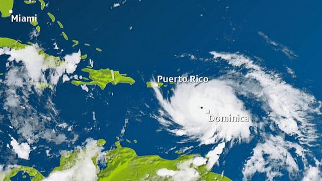 Karte mit dem Hurrikan «Maria» über der Karibik.