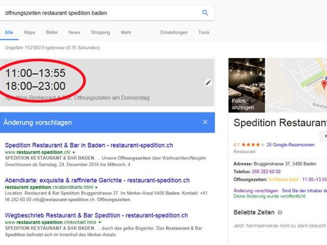 Screenshot Google mit neuen Öffnungszeiten Restaurant Spedition.