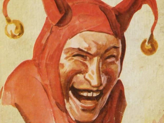 Gemaltes Bild eines Menschen mit Narrenkappe
