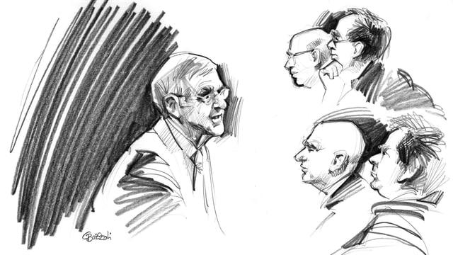 Giusep Nay (l.) spricht zu Anklange und Verteidigung.