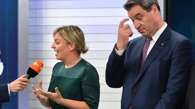 Katharina Schulze und Markus Söder im ZDF-Studio.