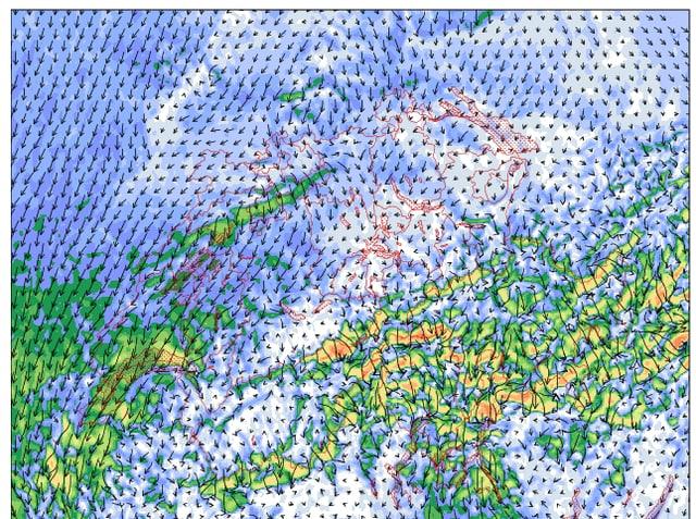 Bild eines Wettermodelles, das für Mittwochabend Nordföhn zeigt