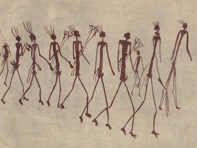 Eine Reihe von Strichmännchen.