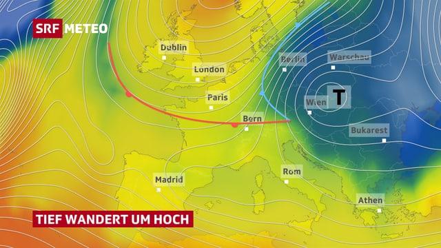 Die Europakarte zeigt das Tiefdruckgebiet mit der zugehörigen Warm- und Kaltfront.