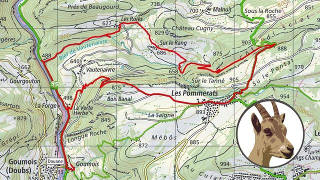 Kartenausschnitt Bief de Vautenaivre