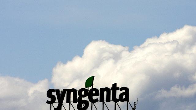 Firmenschild von Syngenta vor einem bewölkten Himmel.