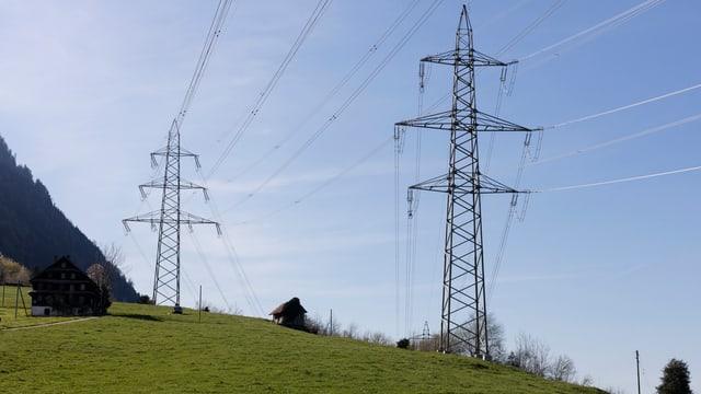 Strommasten in ländlicher Umgebung.