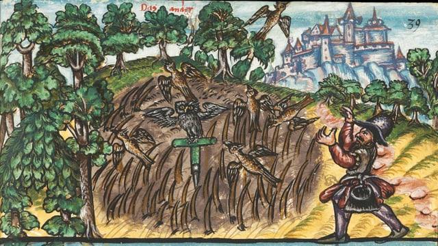 Bunte mittelalterliche Zeichnung einer Vogeljagdszene von 1575