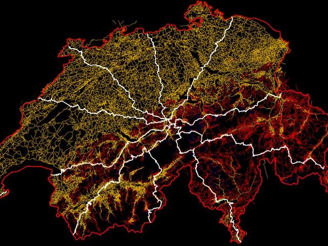Schweizer Landkarte mit den zehn verschiedenen Achsen drauf.