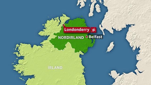 Die Stadt Londonderry in Nordirland