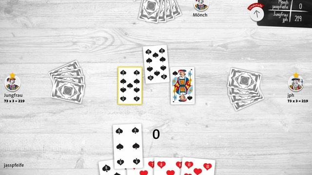 Ein Screenshot von Jassfederal, ein Jasstisch, darauf Karten.