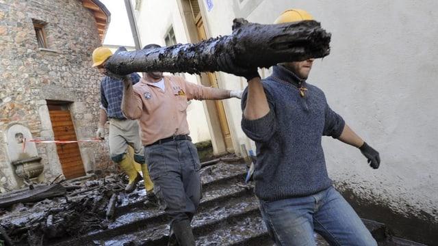 Arbeiter schleppen einen Baumstamm