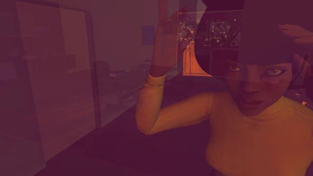 Eine schwarze Frau mit Afro-Frisur im Spiegel eines Fensters.