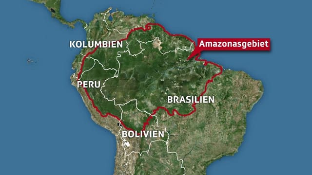 Karte von Südamerika mit dem eingezeichneten Amazonas-Gebiet.