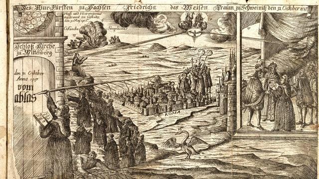 Darstellung einer Stadt in Hintergrund, vorne ein Mann der mit einer riesigen Feder auf eine Türe schreibt.
