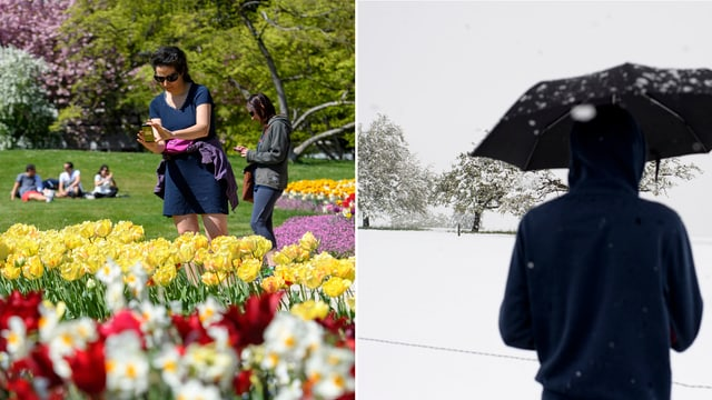 Bildkombination: Frau in einem Sommerkleid in Genf (links), Mann steht im Schnee mit Regenschirm in Gams (SG). (keystone)