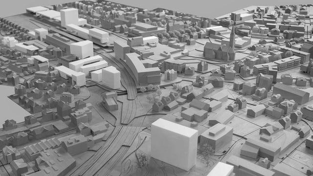 Ein Modell mit verschiedenen Hochhäusern