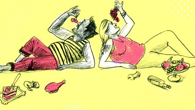 Illustration: Ein Mann und eine Frau sitzen auf dem Boden und essen Weintrauben.
