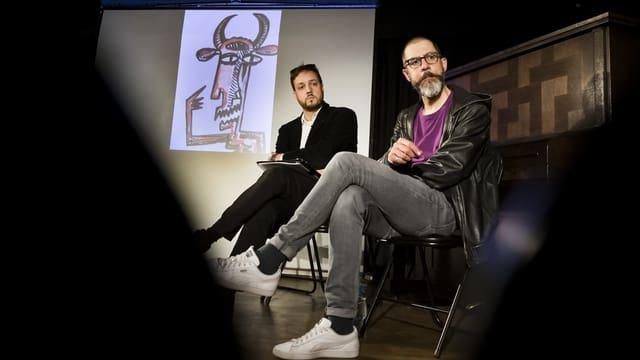 François und Jean Chessex bei der Pressekonferenz, an der sie die Idee für ihren Erinnerungsspaziergang präsentierten.