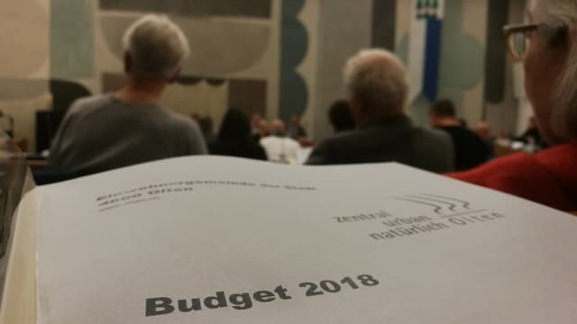 Blatt mit der Aufschrift Budget. Im Hintergrund das Parlament von Olten.