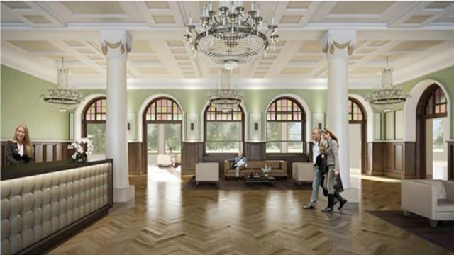 Visualisierung der Empfangshalle im renovierten und erweiterten Hotel Europäischer Hof in Engelberg.