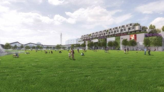 Ein grünes Dach über dem Bahnhof SBB: Die Idee eines Central Parks hat einen schweren Stand in Basel.