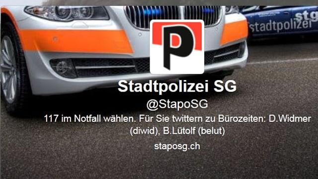 Front Polizeiauto. Screenshot des Twitterprofils der Stadtpolizei St. Gallen.