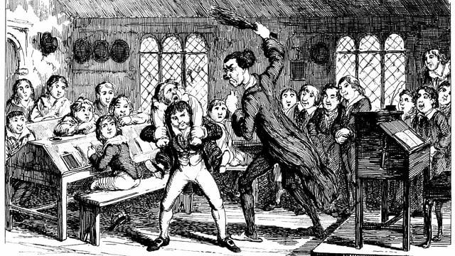Ein Lehrer holt in einer Zeichnung aus dem 19. Jahrhundert mit einer Rute aus.