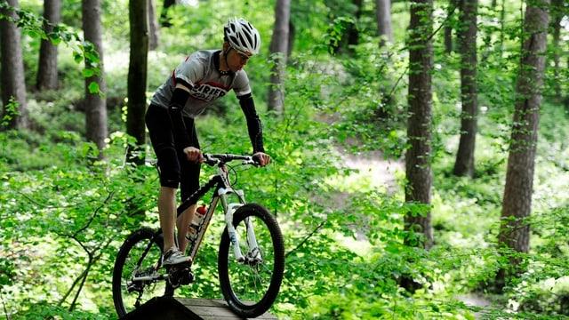 Ein Biker fährt im Wald