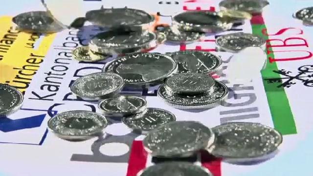 Münzen auf Vergleichstabellen mit Banklogos.