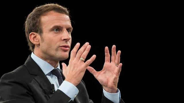 Macron während einer Rede.