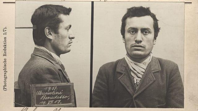 Polizeiformular mit Foto von Benito Mussolini
