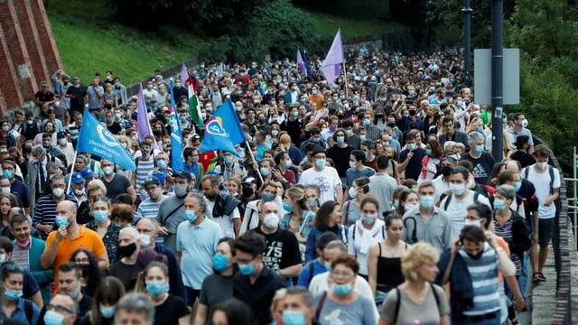 Protestzug in Budapest