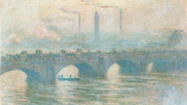 Steinbrücke über Fluss, im Hintergrund rauchende Schornsteine
