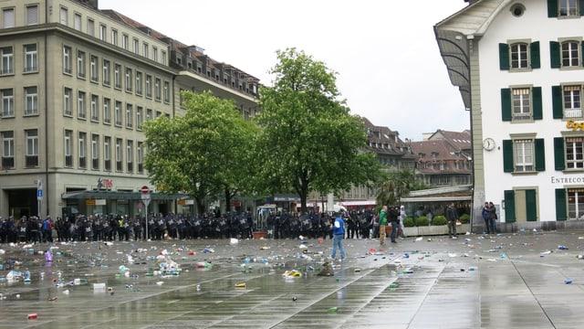 Bern nach den Ausschreitungen vor dem Cupfinal