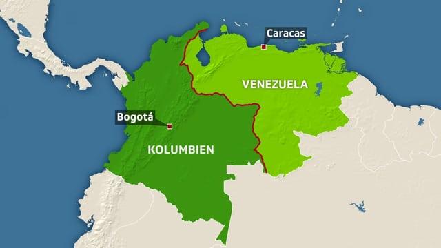 Karte von Venezuela und Kolumbien