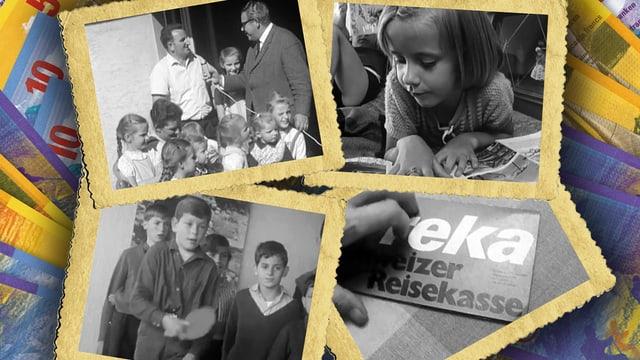 Collage mit Bildern aus Reka-Feriendörfern in den 60er- und 70er-Jahren