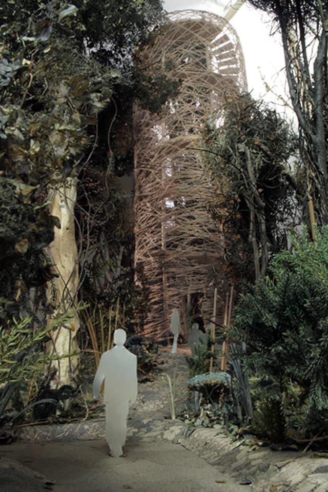 Die beiden Türme des Baumkronenwegs sind als Insekten-Cocon gestaltet.