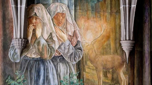 Ausschnitt aus dem Fresko im Kreuzgang, das die Begegnung der beiden Gründerinnen mit dem leuchtenden Hirschen darstellt.